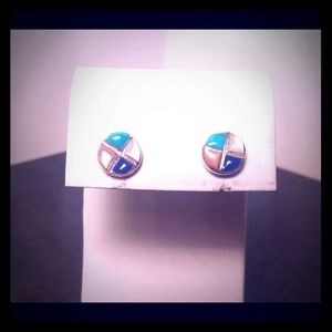 Sterling stud earrings with precious stone